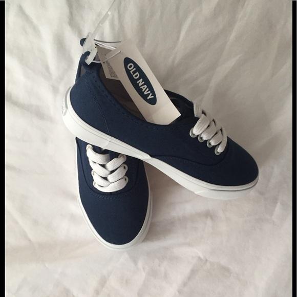 New Girls Canvas Sneakers Blu Sz 13